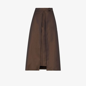 Eftychia Layered Slit Wool Pencil Skirt
