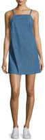 3x1 Twist Sleeveless Open-Back Denim Dress, Blue