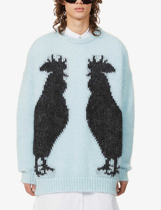 Loewe Rooster graphic-pattern mohair-blend jumper
