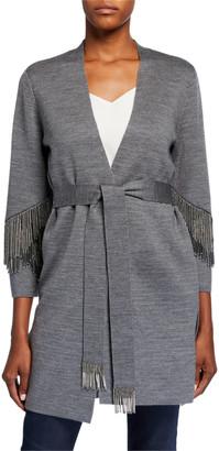 Kobi Halperin Sima Belted Sweater with Beaded Fringe