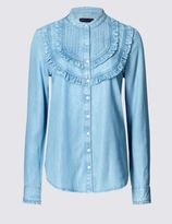 Marks and Spencer Pure Cotton Ruffle Shirt