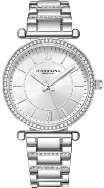Stuhrling Original Women's Crystal Studded Rose Case and Bracelet, Silver Dial 36mm Watch