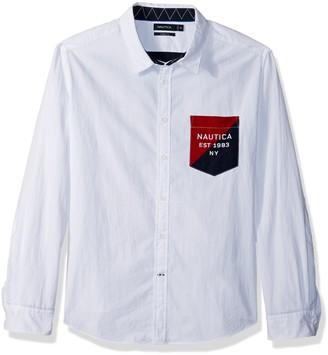 Nautica Men's Slim Fit Heritage Logo Long Sleeve Button Down Shirt