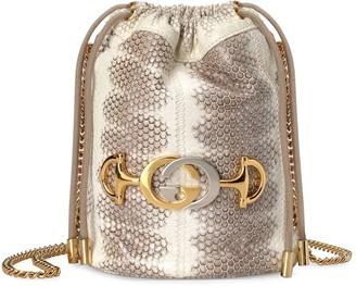 Gucci Zumi snakeskin mini bucket bag