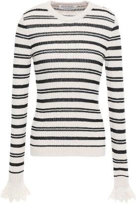 Philosophy di Lorenzo Serafini Lace-trimmed Striped Ribbed Cotton-blend Sweater