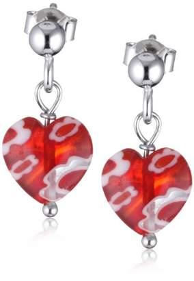 Scout Children's Jewellery, Earrings 925 Sterling Silver, Heart in Murano Glass