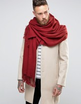 Asos Woven Blanket Scarf In Burgundy