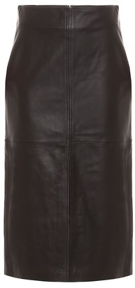 Co High-rise leather midi skirt