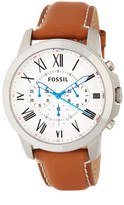 Fossil Men&s Grant Chronograph Leather Strap Watch