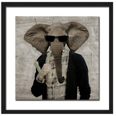 PTM Images Hipster Elephant (Shadow Box Frame)