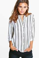 Boohoo Petite Sasha Striped Oversized Shirt