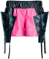 Leka Black & Pink Leather Shorts