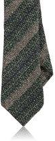 Barneys New York Men's Striped Silk-Wool Necktie-GREEN