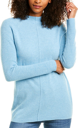 Forte Cashmere Ribbed Sleeve Cashmere Sweater