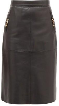 Gucci GG-horsebit Leather Skirt - Black
