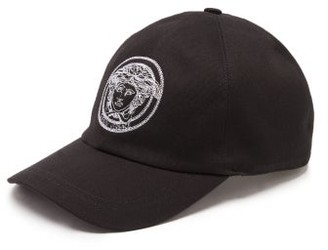 Versace Medusa-embroidered Cotton Cap - Black White