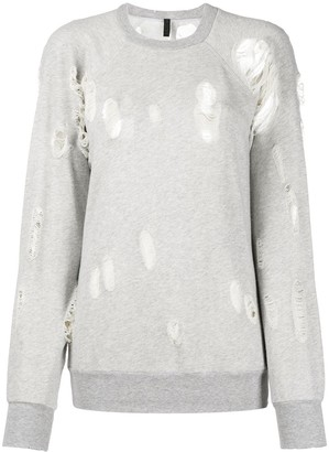 Unravel Project Ripped Detail Sweatshirt