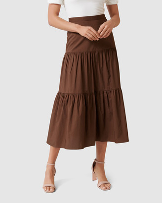 Forever New Lucia Tiered Midi Skirt