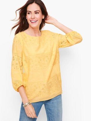 Talbots Embroidered Voile Top - Cross Dye
