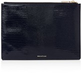 Whistles Medium Lizard-Embossed Leather Clutch