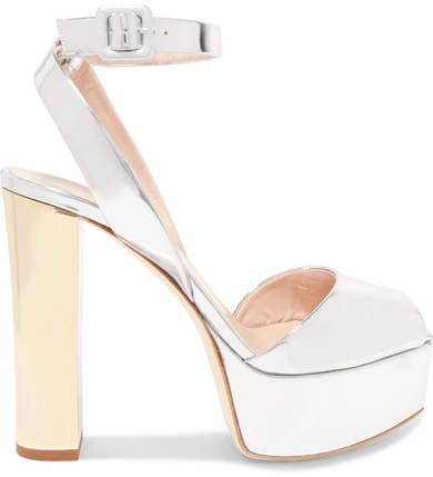 Giuseppe Zanotti Lavinia Mirrored-leather Platform Sandals - Silver