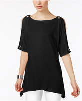 Cable & Gauge Cold-Shoulder Grommet-Trim Top