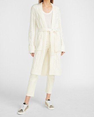 Express Cable Knit Belted Duster Cardigan