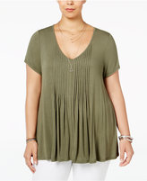American Rag Trendy Plus Size Pintucked Swing Top, Only at Macy's