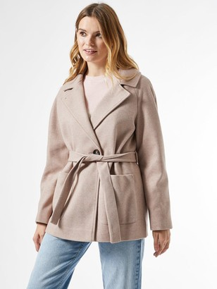 Dorothy Perkins Short Wrap BeltedThrow On Coat - Oatmeal