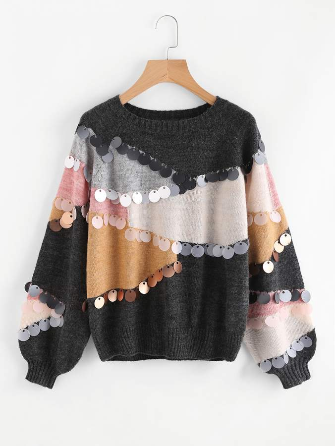 Shein Sequin Decoration Contrast Sweater