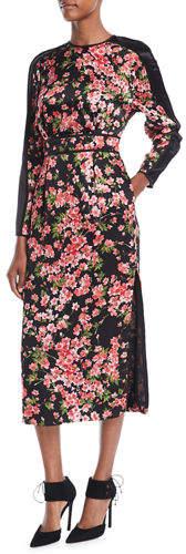 Escada Long-Sleeve Floral-Print Hammered Silk Midi Dress w/ Chiffon Inset