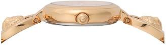 Versace White Guilloche Swarovski Dial Rose Gold Stainless Steel 3D Lion Head Bracelet Ladies Watch