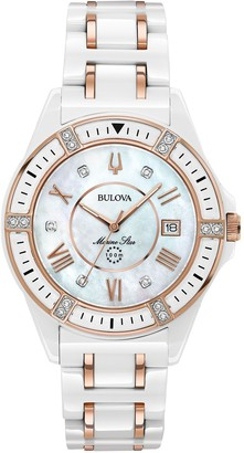 Bulova Women's Ceramic Rosetone Marine Star Diamond Watch