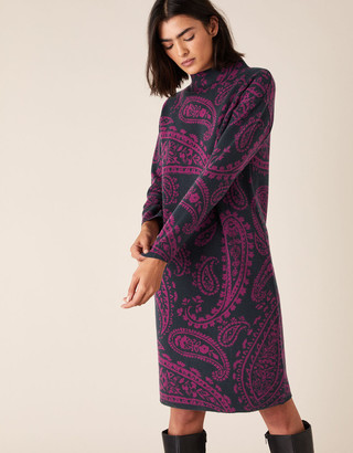 Monsoon Paisley Jacquard Knit Dress Blue