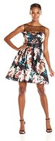 Adrianna Papell Women's Sleeveless Floral Print Stretch Charmeuse Party Dress