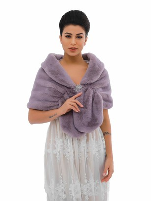 Apricity Sleeveless Faux Fur Shawl Wedding Fur Wraps and Shawls Bridal Fur Stole for Brides and Bridesmaids (Light Purple)