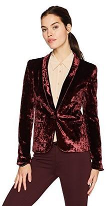 James Jeans Women's Tuxedo Jacket Velveteen Blazer in Rouge Crushed Velvet P