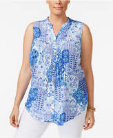 Charter Club Plus Size Printed Blouse, Created for Macy's