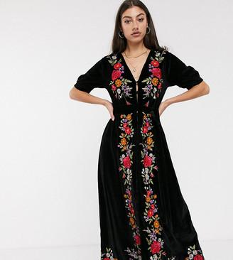 Asos Tall DESIGN Tall embroidered velvet midi tea dress