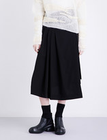 Isabel Benenato Wrap-over high-rise virgin wool skirt