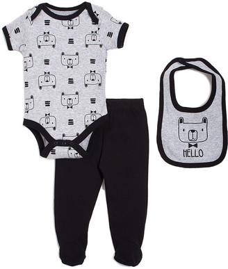 chick pea Boys' Infant Bodysuits Black - Gray & Black Dog Bodysuit Set - Newborn & Infant