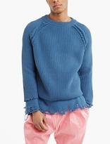 Haider Ackermann Blue Distressed Hem Cashmere Sweater
