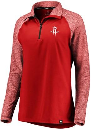 Möve Women's Fanatics Branded Red/Heathered Red Houston Rockets Made to Static Performance Raglan Sleeve Quarter-Zip Pullover Jacket