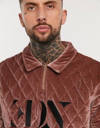 ASOS EDITION harrington sweater in burgundy quilted velvet with embroidered logo and half zip