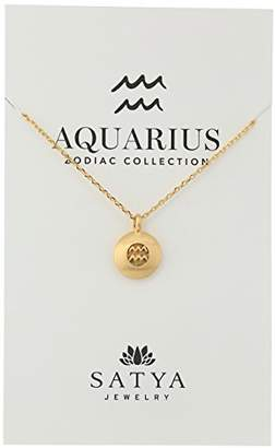 Satya Jewelry Zodiac -Plated Mini Aquarius Pendant Adjustable Chain Necklace