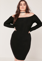 Missguided Plus Size Bardot Ribbed Midi Dress Black