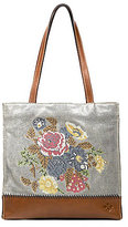 Patricia Nash Cross-Stitched Collection Toscano Floral Denim Tote
