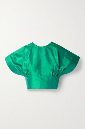 Christopher John Rogers Cropped Silk-taffeta Top - Jade