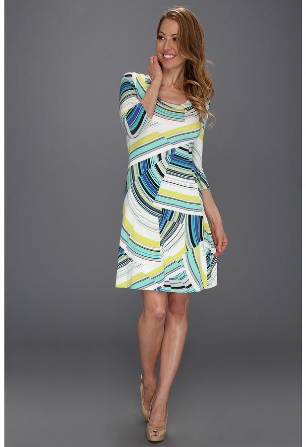 Karen Kane Abstract 3/4 Sleeve A-Line Dress (Print) - Apparel