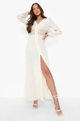 boohoo Lace Waist Button Maxi Dress